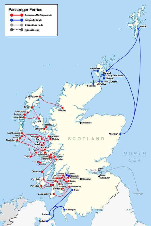Mappa traghetti Scozia