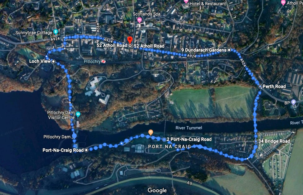 Pitlochry walk map